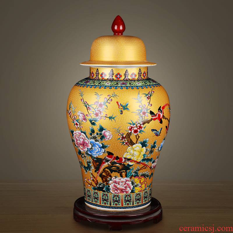 General archaize of jingdezhen ceramics powder enamel jar of large storage tank home sitting room TV ark adornment furnishing articles