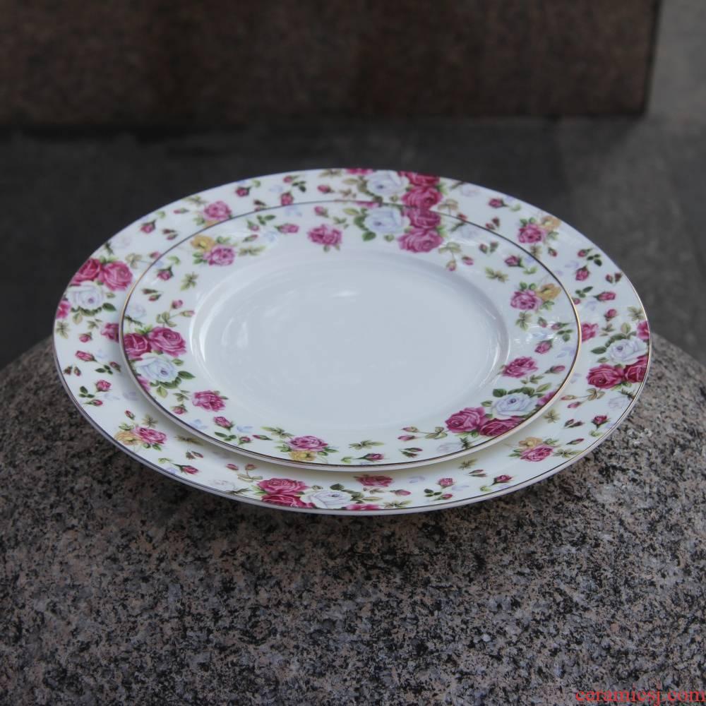 Qiao mu tangshan ipads porcelain two 8 inch - tonne 10 inch flat beefsteak main plate cold dessert plate of up phnom penh