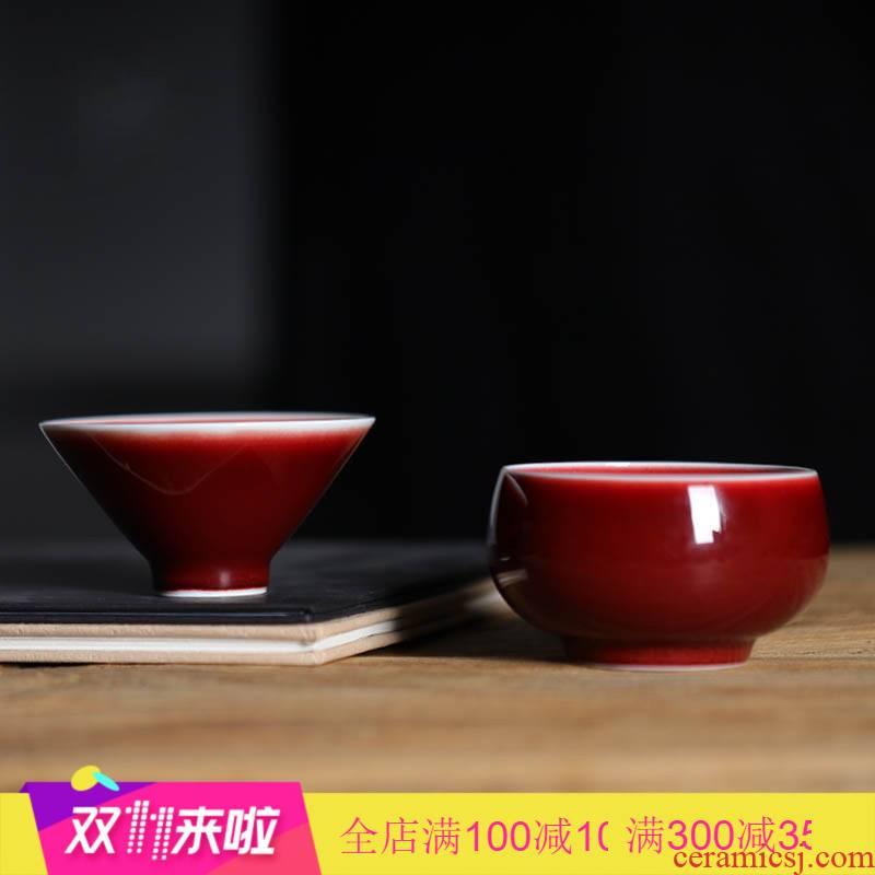 The Poly real scene ore ruby red glaze jingdezhen ceramic cups kung fu tea tea, pure hand sample tea cup master CPU