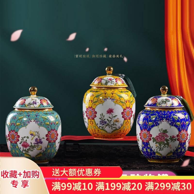 Poly real scene enamel ceramic POTS jingdezhen ceramic tea pot of tea packing gift box baekho silver caddy fixings