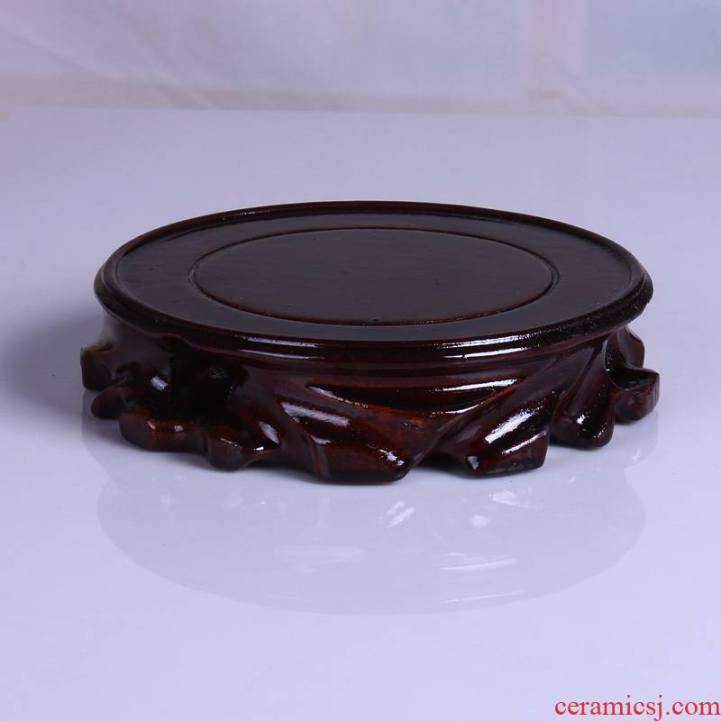 Solid wood ShouGong root carving stone flower vase base base bonsai penjing jade stone arts and crafts