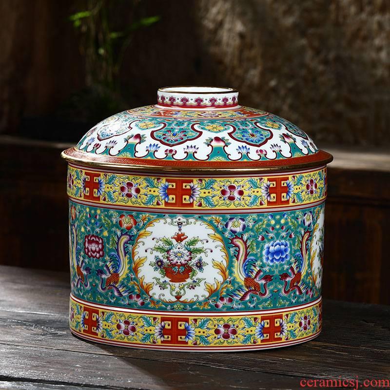 Jingdezhen ceramics pastel colored enamel handpainted large caddy fixings puer tea cake storage tank tea boxes