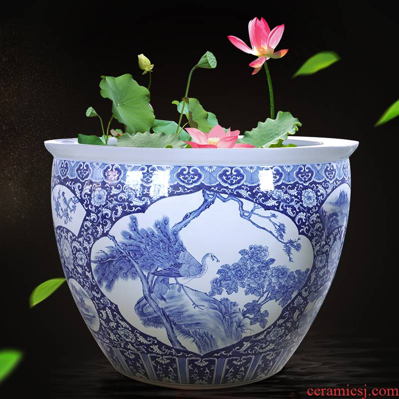 Blue and white porcelain of jingdezhen ceramics birdbath oversized 1 meter large vats porcelain jar aquarium bowl aquarium water turtle box