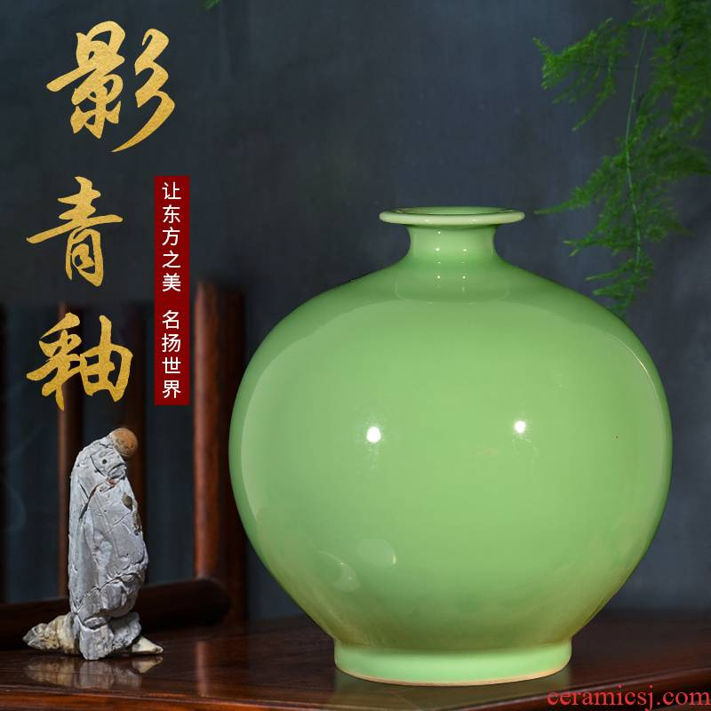 Jingdezhen ceramics antique green glaze ears vases, flower arranging Chinese style classical home sitting room adornment is placed