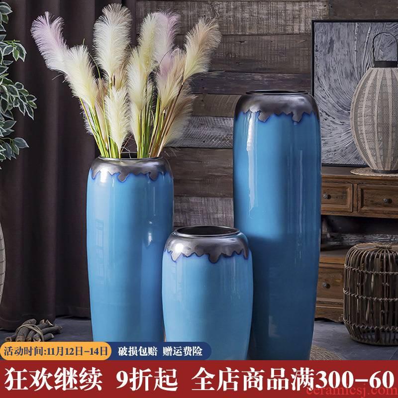 European large ground vase sitting room dry flower arranging flowers ceramic big furnishing articles American hotel household light key-2 luxury decoration