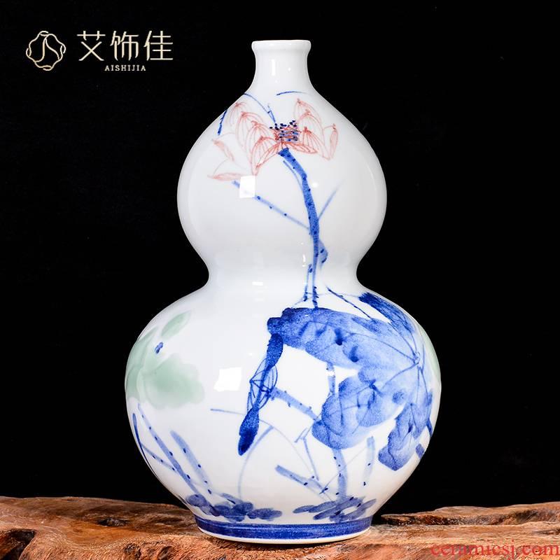 Jingdezhen ceramics hand - made lotus flower arranging furnishing articles home sitting room TV cabinet study decorative vase handicraft