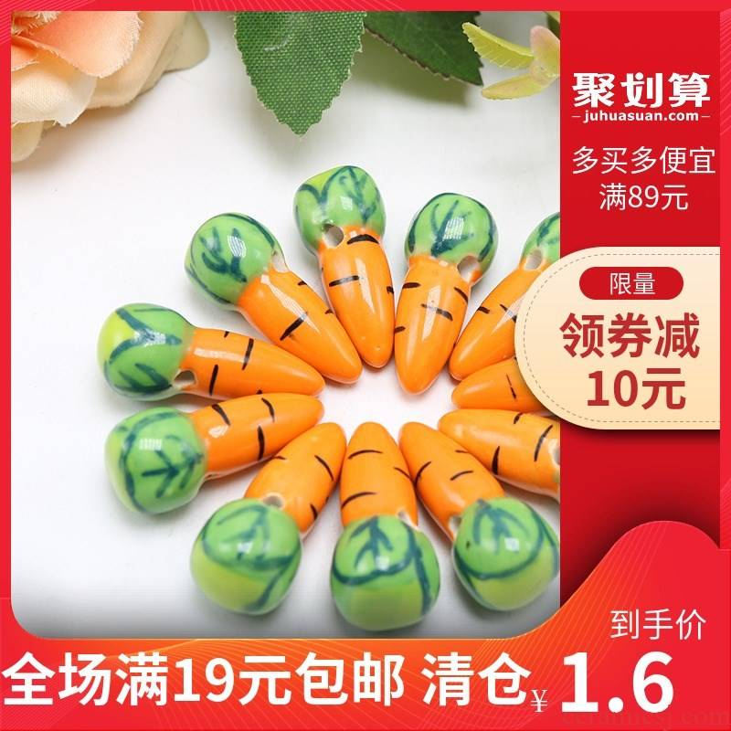 Hand - made ceramic have beads radish - shaped pendant diy necklace bracelet accessories small pure and fresh and lovers