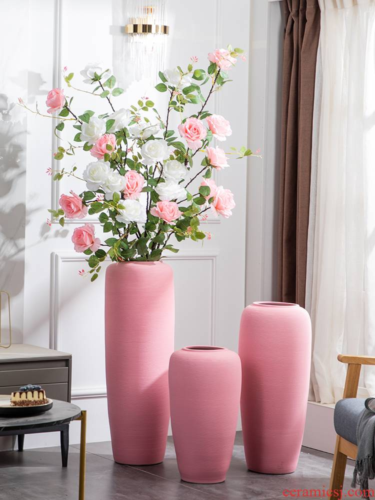 I and contracted floor vase large pink ceramic decoration place to live in the sitting room porch flower arrangement suits for