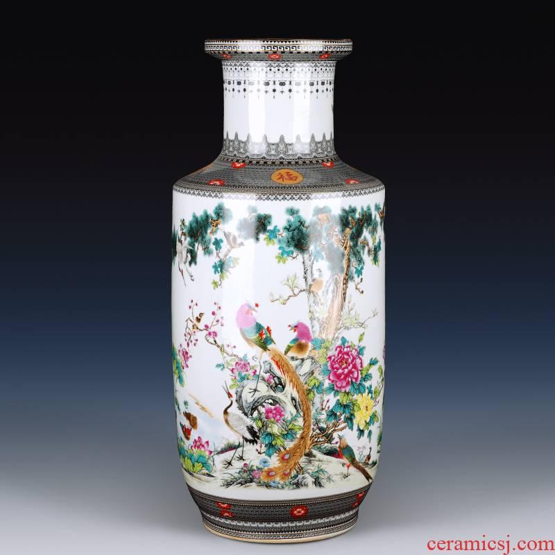 Jingdezhen ceramics powder enamel of large vase simulation flower flower high living room TV ark, furnishing articles ornaments