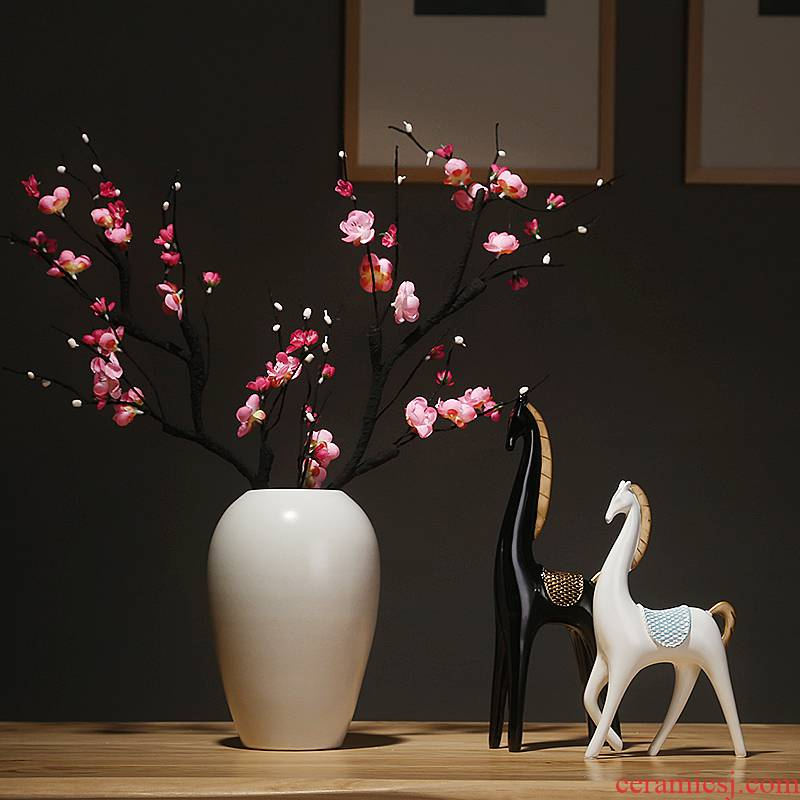 Jingdezhen ceramics vase white sitting room porch place simulation dried flowers flower arrangement suits for Chinese study