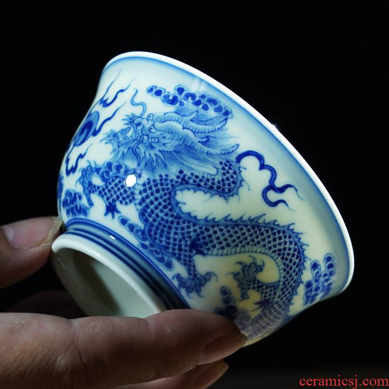 The Fire master of blue and white porcelain cup one thousand single cup for cup set a pair of hand draw high - end jingdezhen ceramic kung fu tea cups