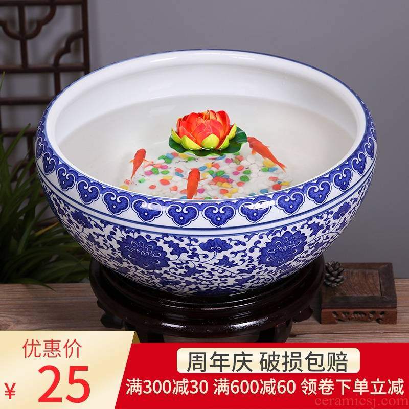 Jingdezhen porcelain ceramic aquarium desktop furnishing articles feng shui large turtle slept goldfish bowl LianHe flower pot cylinder