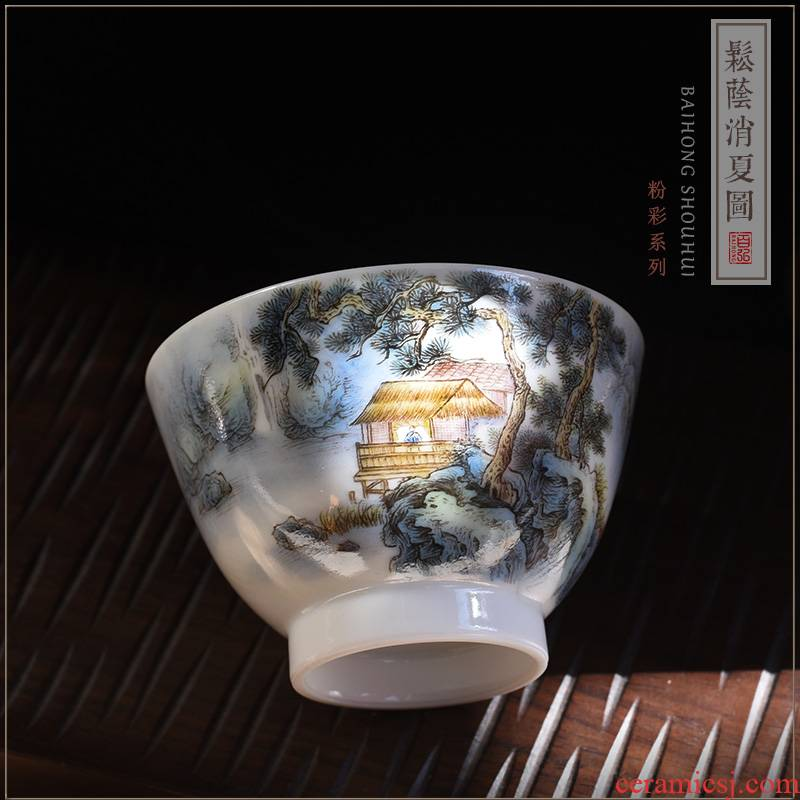 Hundred hong pastel master cup single cup of jingdezhen tea service manual teacups hand - made SongYin summer figure sample tea cup