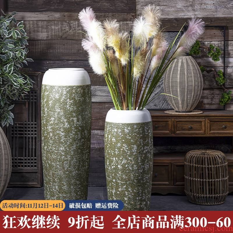 Zen ground vase coarse pottery furnishing articles dried flower arranging flowers sitting room decoration of new Chinese style restoring ancient ways of jingdezhen ceramic POTS