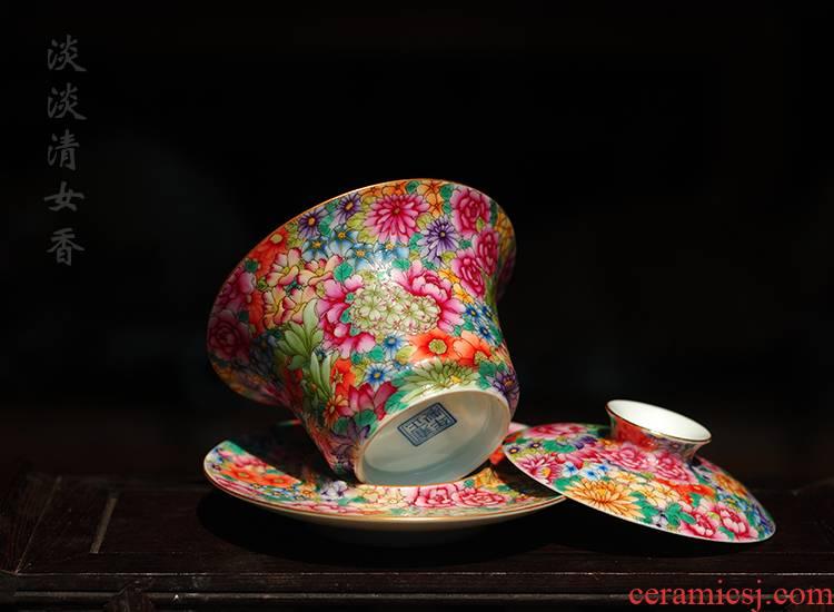 Submerged wood hand - made of high - grade enamel flower tureen jingdezhen ceramic checking tea kungfu tea cups cover