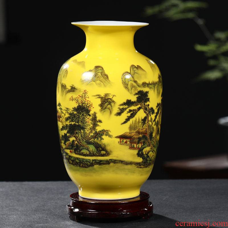 Porcelain of jingdezhen ceramics yellow peony vases, flower arranging rich ancient frame decoration furniture furnishing articles sitting room