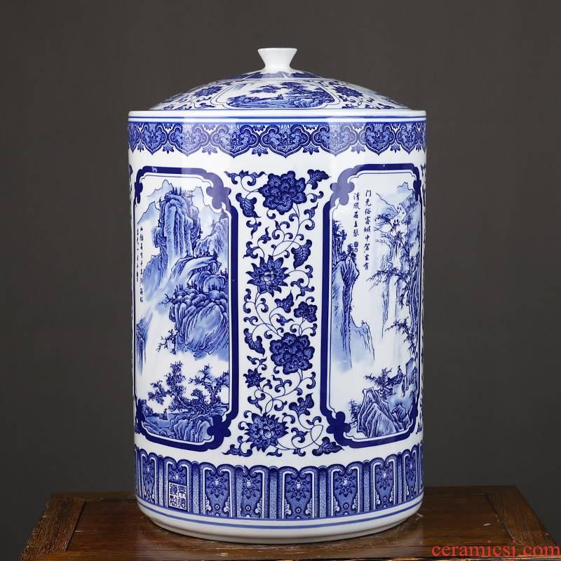 Jingdezhen ceramic barrel 50 kg of straight cylinder caddy fixings household seal storage jar airtight storage tea urn
