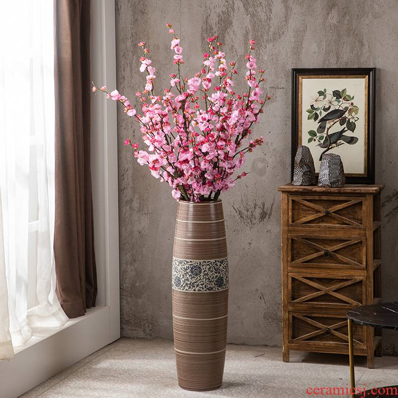 Gagarin retro manual groove ceramic vase landing large home living room TV cabinet decorative furnishing articles arranging flowers