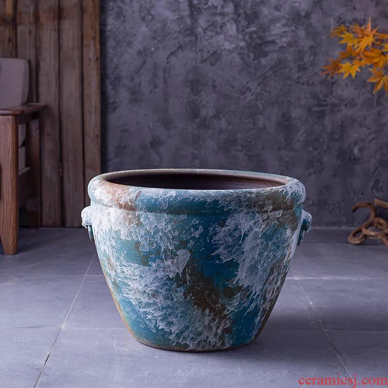 Jingdezhen ceramic retro VAT water lily tank floor furnishing articles courtyard garden coarse pottery manual water basin of water