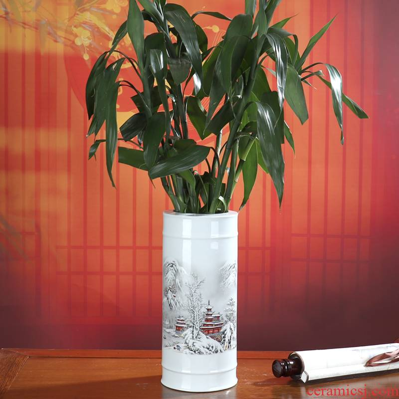 Lucky bamboo vase hydroponic jingdezhen ceramic furnishing articles dried flower arranging flowers sitting room of Chinese style office desktop decoration