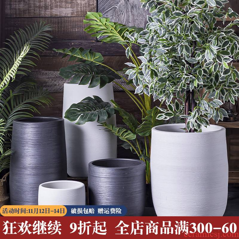 Nordic extra large ceramic flower pot happiness of trees high indoor living room yard landing potted flower pot