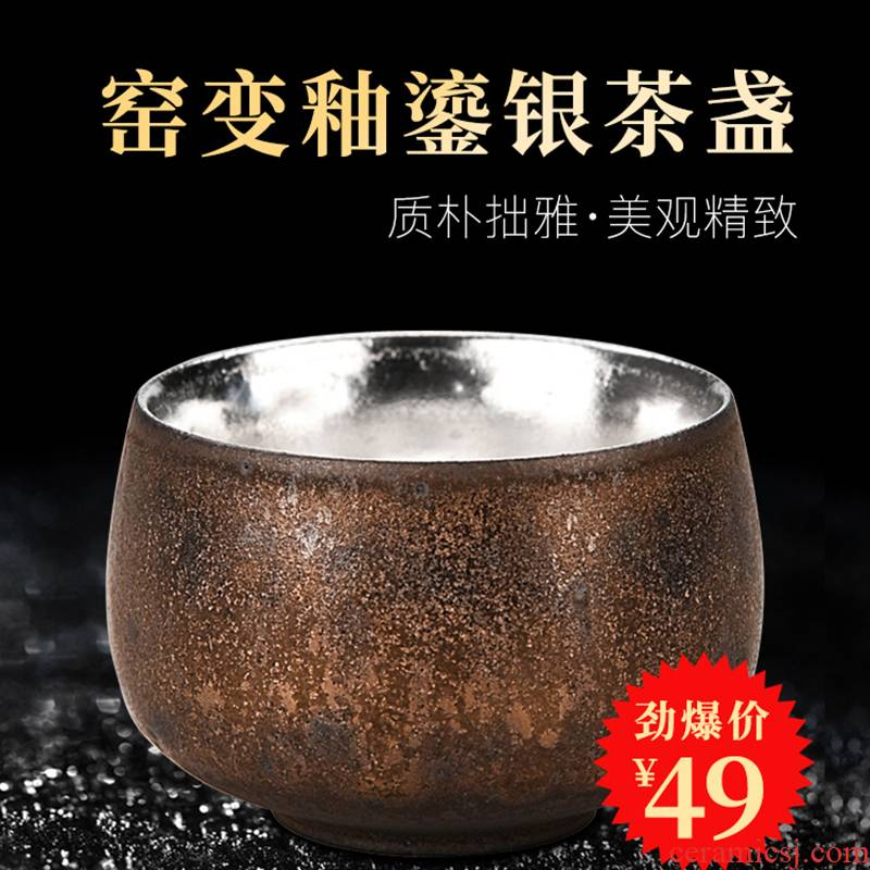 Ancient sheng up manually coppering. As silver 999 sterling silver master cup single cup sample tea cup of jingdezhen ceramic silver cup silver cup