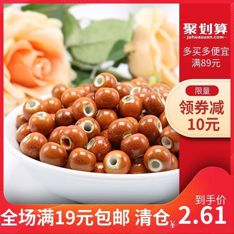 Jingdezhen high temperature ceramic beads orange colored glaze doug bead bracelet necklace beads 6 ~ 10 mm of diy