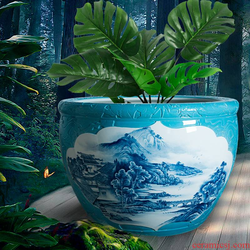 Jingdezhen tank water lily cylinder goldfish bowl cycas bonsai trees to raise a flower pot king garden ceramics sitting room