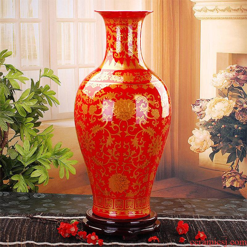 092 large Chinese jingdezhen ceramics red paint vase wedding gifts home handicraft furnishing articles