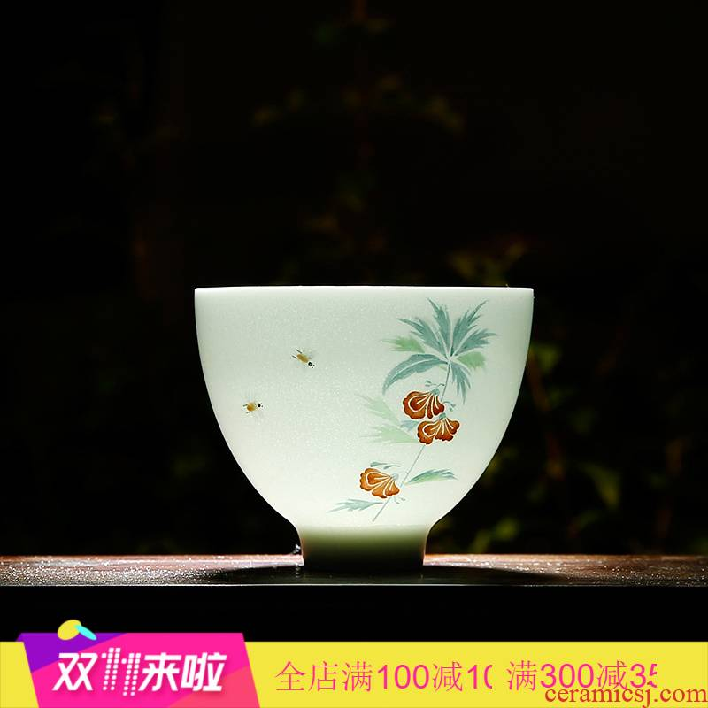 The Poly real boutique scene masters cup kung fu jingdezhen ceramic sample tea cup hand - made white porcelain cups celadon tea set S