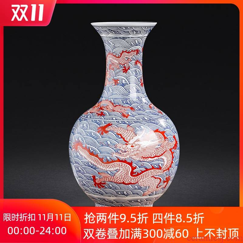 Blue and white porcelain of jingdezhen ceramics youligong red dragon grain vase furnishing articles home sitting room flower arranging handicraft ornament