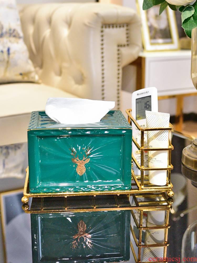Multi - function tissue box light key-2 luxury cosmetics receive remote control box of tea table sitting room place European ceramic smoke box