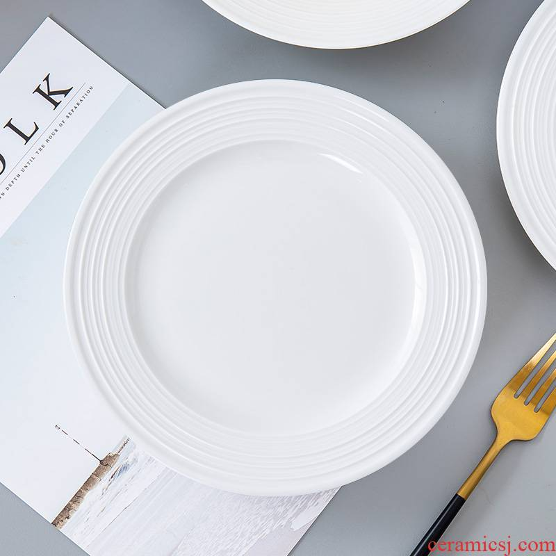 Jingdezhen porcelain ipads contracted household breakfast steak plate western dishes Nordic creative white ceramic dishes