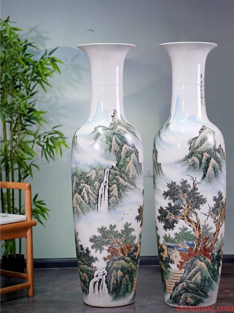 Jingdezhen pastel hand - made scenery large sitting room landing big vase furnishing articles household porcelain ceramic decoration