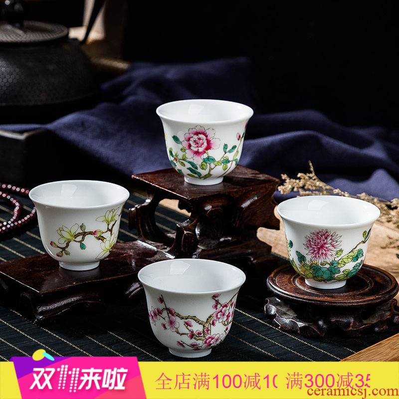 12 flora. Poly real view jingdezhen pastel cup pure manual sample tea cup master cup single CPU female hand - made tea sets