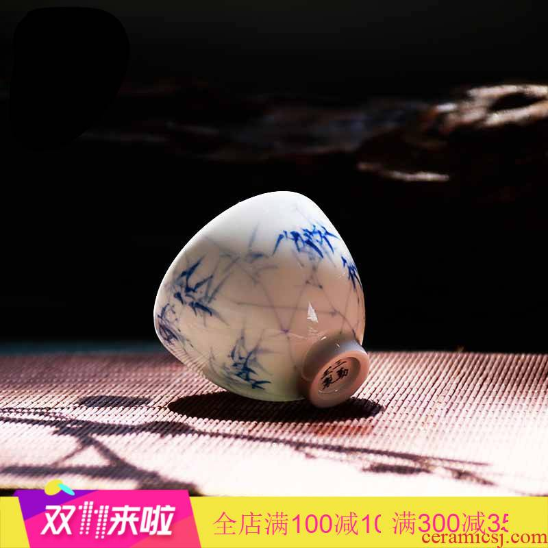 The Poly real boutique scene do sample tea cup single CPU master cup jingdezhen bells small ceramic cups kung fu tea set