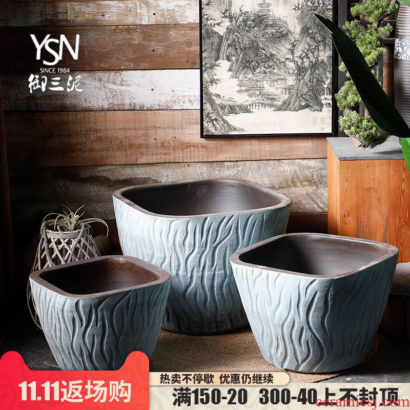 Tank floor furnishing articles courtyard garden ceramics archaize VAT coarse pottery hand round the altar three mud Tank large flower pot
