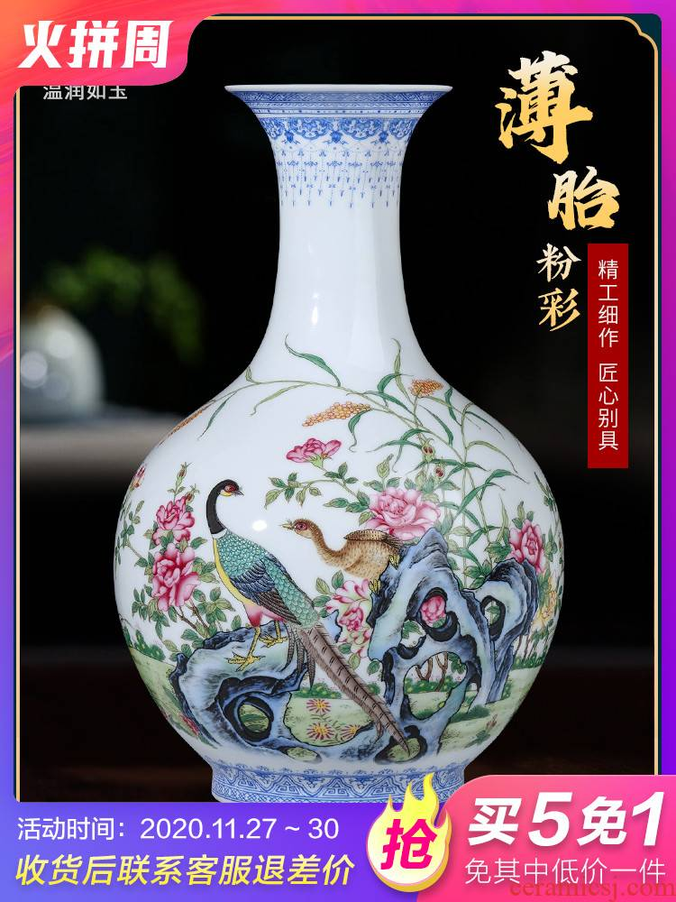 Jingdezhen ceramics sitting room adornment put vase pastel desktop rich ancient frame of Chinese style household office furnishing articles