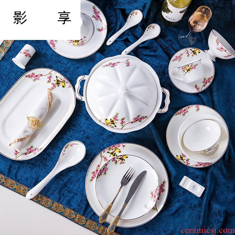 Shadow enjoy dishes suit household up phnom penh European - style ipads porcelain tableware chopsticks contracted combination of jingdezhen ceramic gifts L