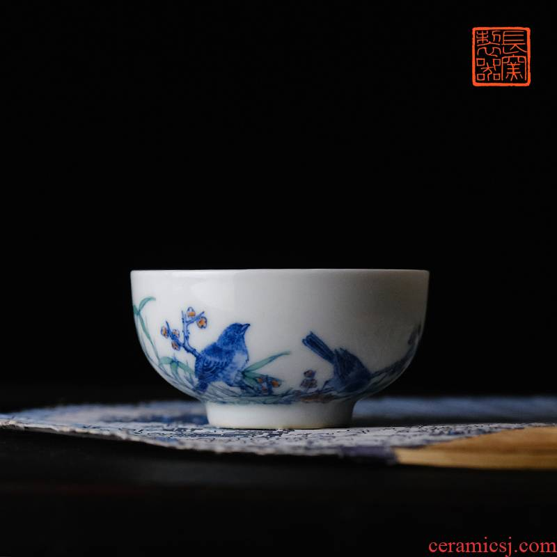 Offered home - cooked ju long up controller yongzheng blue ocean 's bucket color painting of flowers and a cup of tea cups of jingdezhen master cup of tea