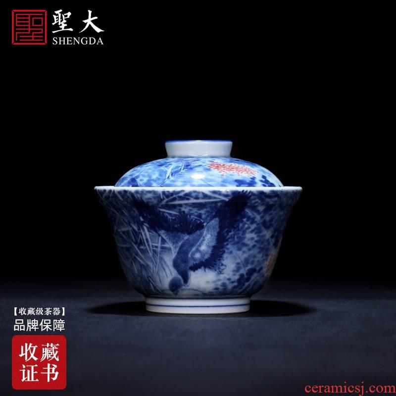 The large ceramic three tureen tea bowl of pure hand - made figure tureen jingdezhen blue and white LuYan tea set manually by hand