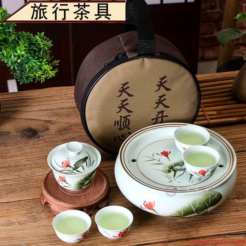 Travel tea set suit portable charter the loaded with kung fu small ceramic chaozhou kunfu tea tea tray