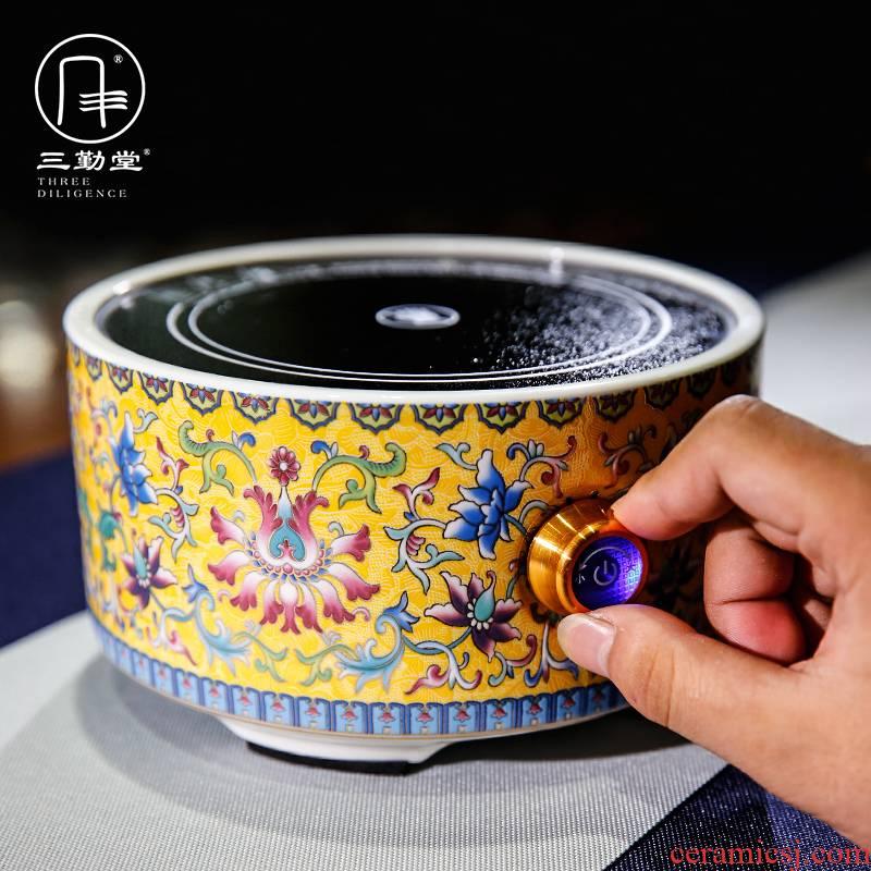Three frequently hall around branch electric TaoLu tea stove jingdezhen ceramic tea set joker kettle boil tea stove S81024 restoring ancient ways