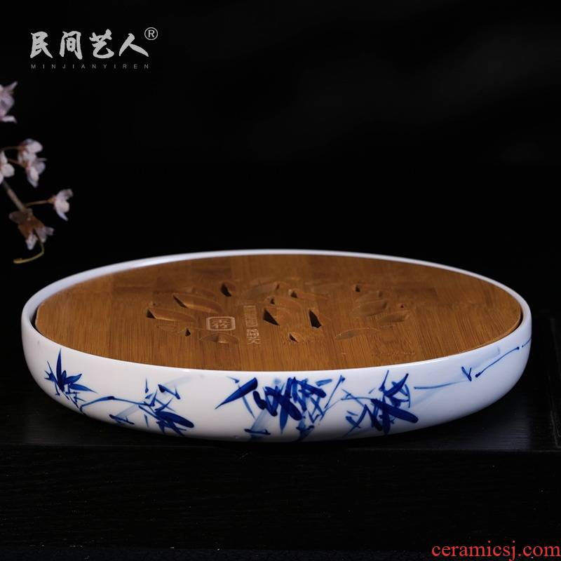 Jingdezhen ceramic means safe hand - made bamboo tea tray was kung fu tea set with parts solid wood saucer porcelain tea tray package mail