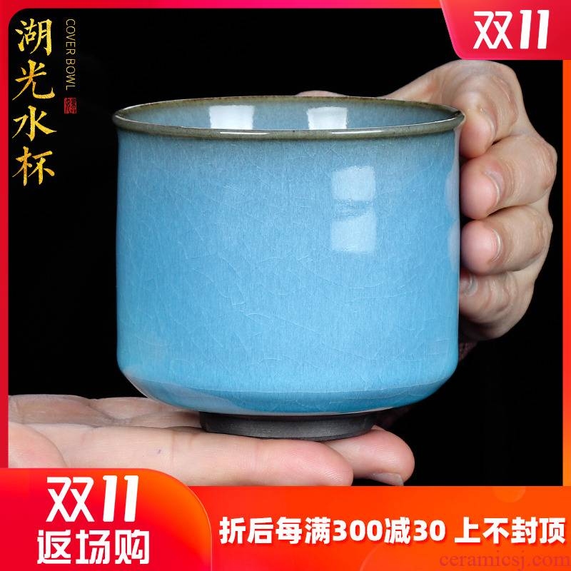 Artisan fairy Su Tianpei single crack glaze ice tea cups, large capacity of checking ceramic cups sample tea cup