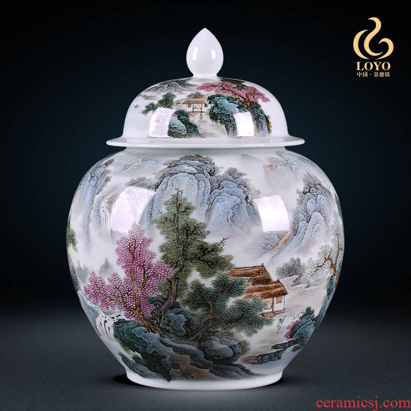 Jingdezhen ceramics general famous hand - made pastel landscape cover pot storage tank decoration of Chinese style household furnishing articles