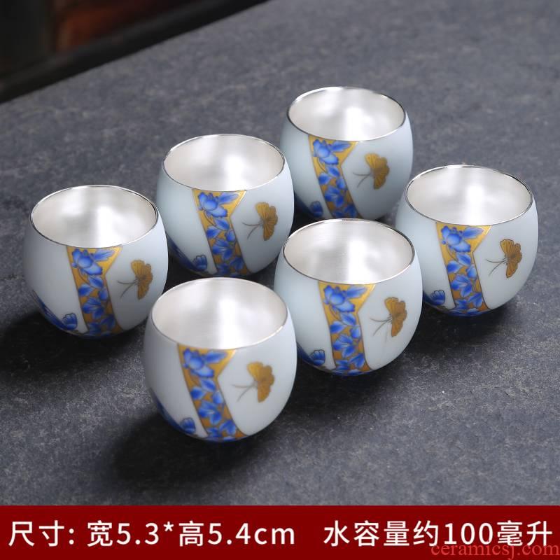 Tasted silver gilding tea master cup single CPU single sample tea cup white porcelain tea set private custom kung fu tea cups