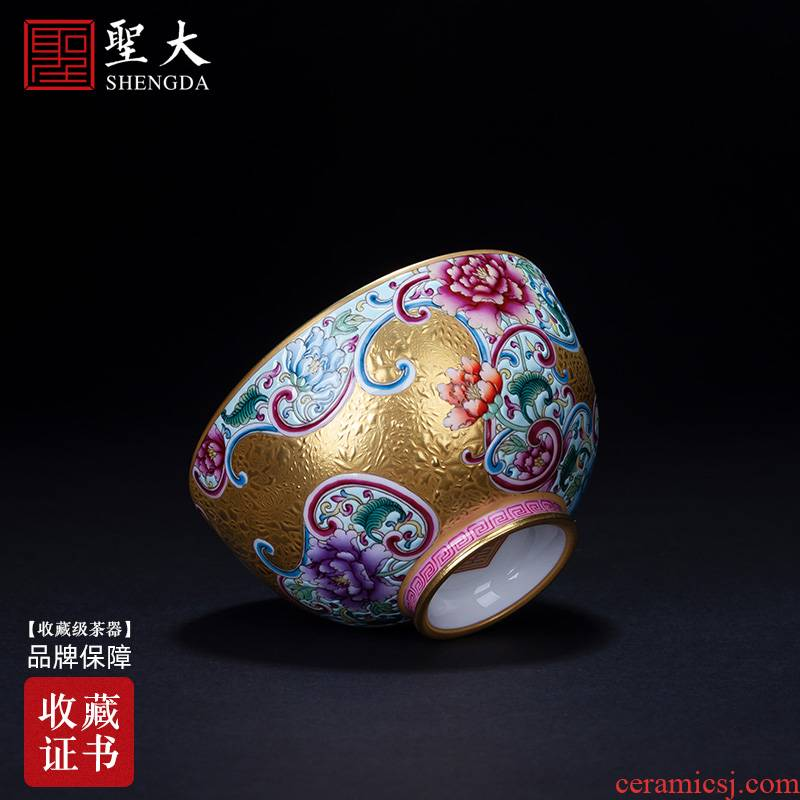 Holy big pure hand - made ceramic kung fu tea colored enamel heap gold flower grain cup all hand of jingdezhen tea service master