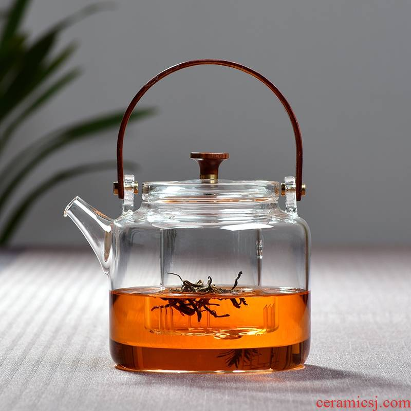 New feather glass teapot thickening high - temperature steam boiling tea household small electrical TaoLu kung fu tea set
