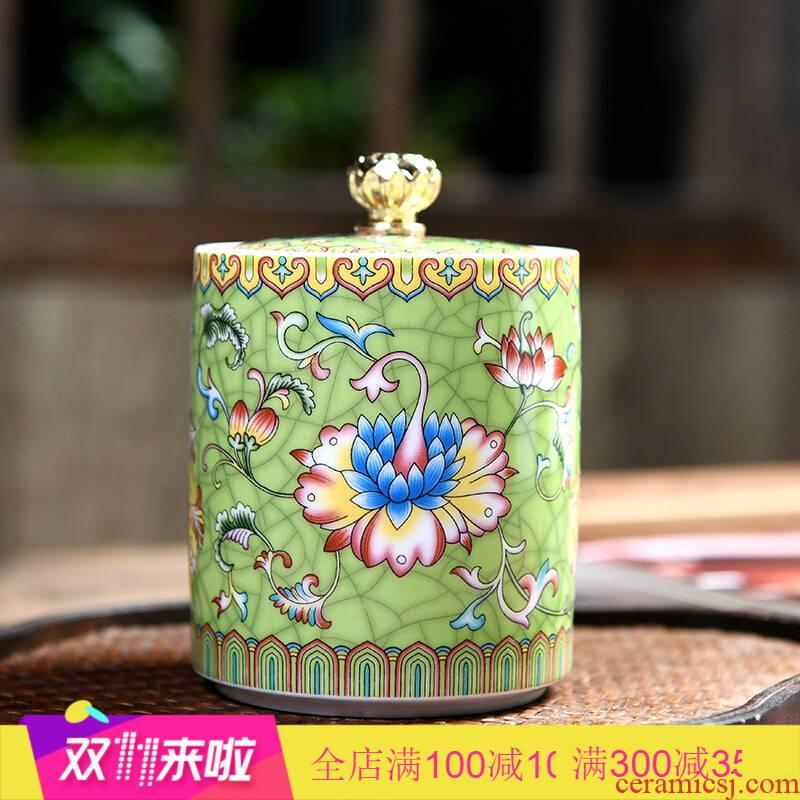Poly real scene tea pot seal moisture storage tank ceramic pot of green tea tea pot POTS with cover
